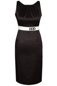 Czarna sukienka Fokus ołówkowa midi bez rękawów