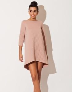 Różowa sukienka LENITIF mini trapezowa