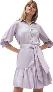 Fioletowa sukienka Nife koszulowa w stylu casual z kołnierzykiem
