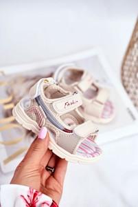 Buty dziecięce letnie Pl1 dla dziewczynek ze skóry na rzepy