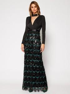 Czarna sukienka Guess by Marciano z dekoltem w kształcie litery v maxi