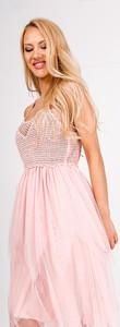 Różowa sukienka Zoio na ramiączkach z tiulu