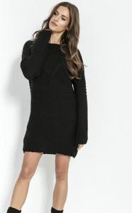 Czarna sukienka Fobya z wełny mini z długim rękawem