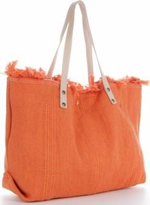 Pomarańczowa torebka VITTORIA GOTTI duża ze skóry zamszowa