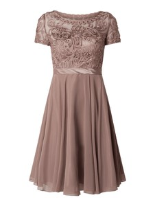 Brązowa sukienka Niente gorsetowa z satyny