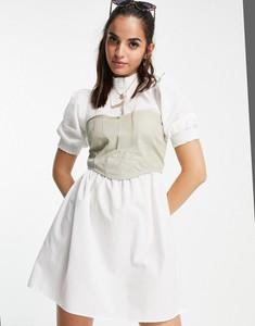 Sukienka Asos gorsetowa z bawełny z golfem