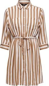 Sukienka Only z dekoltem w kształcie litery v z długim rękawem koszulowa