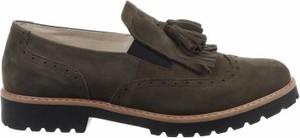 Brązowe półbuty Zapato z płaską podeszwą ze skóry