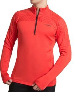 Czerwona koszulka z długim rękawem Adidas z plaru