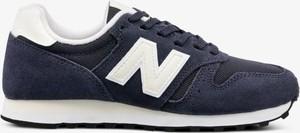 Granatowe buty sportowe New Balance na koturnie w sportowym stylu sznurowane