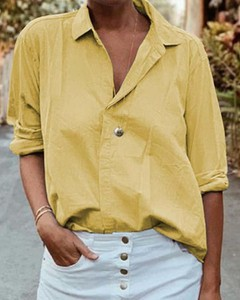 Żółta koszula Kendallme z kołnierzykiem w stylu casual