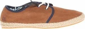 Brązowe buty letnie męskie Pepe Jeans sznurowane