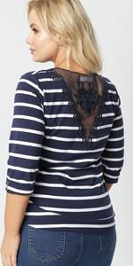 Granatowa bluzka born2be z długim rękawem w stylu casual z okrągłym dekoltem