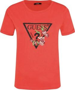 T-shirt Guess z okrągłym dekoltem