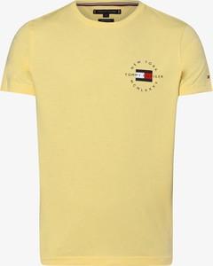 Żółty t-shirt Tommy Hilfiger z bawełny z krótkim rękawem w stylu casual