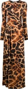 Brązowa sukienka Roberto Cavalli z długim rękawem maxi