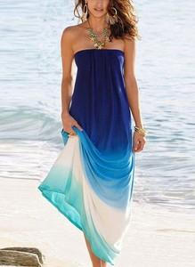 Niebieska sukienka Cikelly hiszpanka maxi
