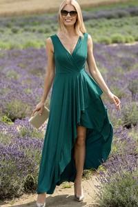 Zielona sukienka Maravilla Boutique asymetryczna z dekoltem w kształcie litery v na ramiączkach