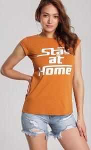 T-shirt Renee w młodzieżowym stylu z krótkim rękawem z okrągłym dekoltem