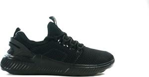 Czarne buty sportowe American Club z płaską podeszwą sznurowane