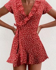 Czerwona sukienka Kendallme z krótkim rękawem mini
