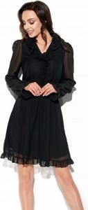 Sukienka Lemoniade mini z żabotem z szyfonu
