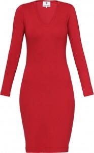 Czerwona sukienka Yuliya Babich mini z dekoltem w kształcie litery v z długim rękawem