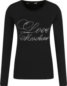 Czarna bluzka Love Moschino z okrągłym dekoltem w stylu casual
