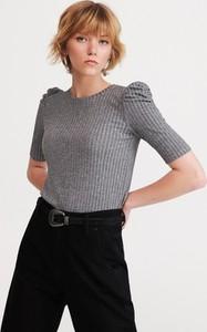 Bluzka Reserved z krótkim rękawem z okrągłym dekoltem w stylu glamour