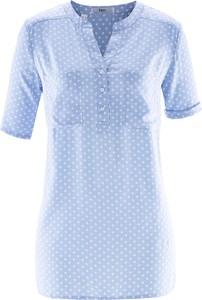 Błękitna bluzka bonprix bpc bonprix collection z dekoltem w kształcie litery v z krótkim rękawem