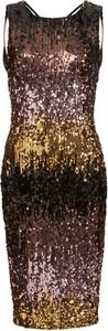 Sukienka bonprix BODYFLIRT boutique midi dopasowana w stylu glamour