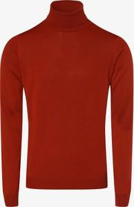 Pomarańczowy sweter Finshley & Harding w stylu casual z golfem z wełny