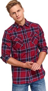 Czerwona koszula Top Secret z długim rękawem