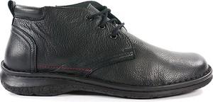 Czarne buty zimowe Wasak ze skóry sznurowane w stylu casual