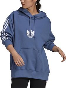 Niebieska bluza Adidas z bawełny w sportowym stylu