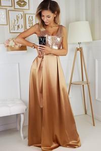Brązowa sukienka Bicotone na ramiączkach maxi z dekoltem w kształcie litery v