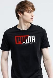 Czarny t-shirt Puma z krótkim rękawem w młodzieżowym stylu