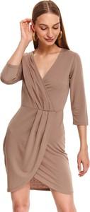 Sukienka Top Secret z długim rękawem z dekoltem w kształcie litery v koszulowa