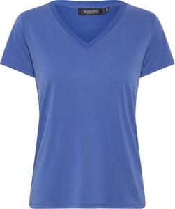 Niebieski t-shirt Soaked in Luxury z krótkim rękawem