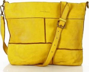 Żółta torebka MAZZINI ze skóry duża na ramię