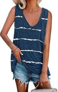 Niebieska bluzka Sandbella w stylu boho z okrągłym dekoltem