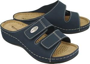 Niebieskie klapki Tamaris na rzepy w stylu casual