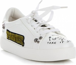 Trampki Ideal Shoes z tkaniny w młodzieżowym stylu z płaską podeszwą