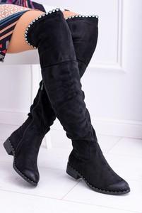 25220be3 kozaki damskie czarne zamszowe - stylowo i modnie z Allani