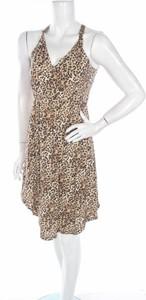 Brązowa sukienka Fabulous w stylu casual z dekoltem w kształcie litery v na ramiączkach