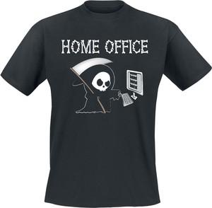 Czarny t-shirt Emp w młodzieżowym stylu z krótkim rękawem z nadrukiem