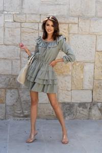 Sukienka Popatu z bawełny mini z długim rękawem