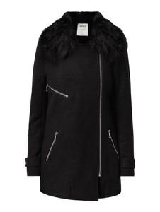 Czarny płaszcz Only w stylu casual z wełny