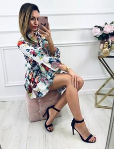 Sukienka Kenza.pl z bawełny z dekoltem w kształcie litery v z długim rękawem