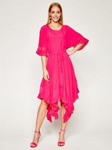 Sukienka Twinset asymetryczna z długim rękawem z okrągłym dekoltem